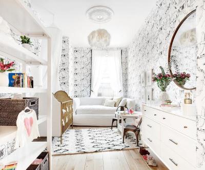 Whimsical Nursery with Kalahari Vignettes Wallpaper - Transitional - Nursery