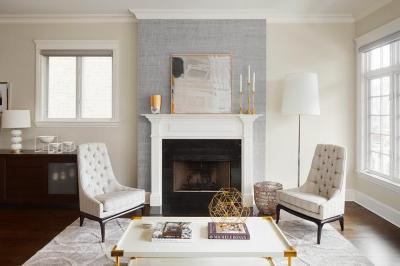 Gray Fireplace Wall with White Mantel - Contemporary - Living Room