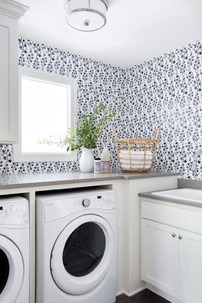 White and Gray Laundry Room with Blue Wildflower Wallpaper - Transitional - Laundry Room