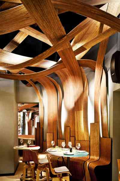 Top 5 - Restaurant Interior Designs with Wooden Walls Insertions