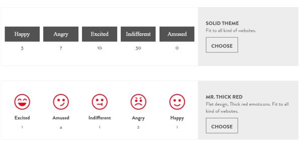 Screenshot of the Feelback Reactions theme selection process.