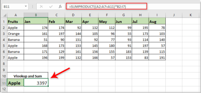 How to use vlookup and sum in Excel?