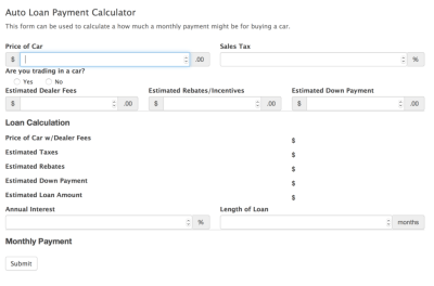 Car Payment Calculator Form Template - Formidable Forms