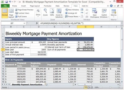 Bi-Weekly Mortgage Payment Amortization Template For Excel