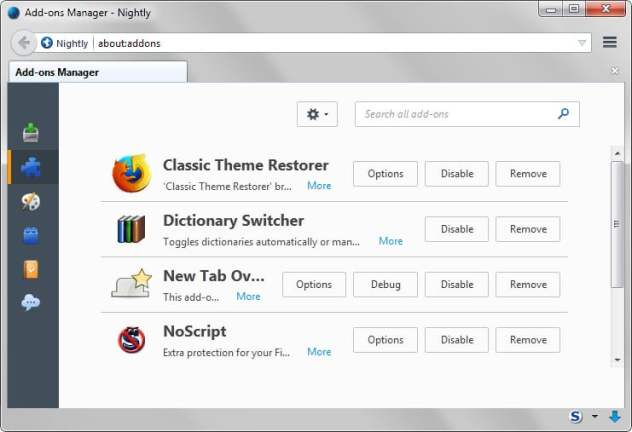 firefox addon manager no versions