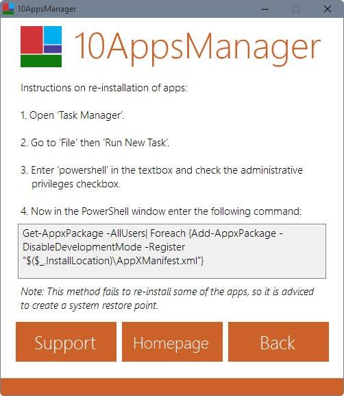 restore windows 10 apps