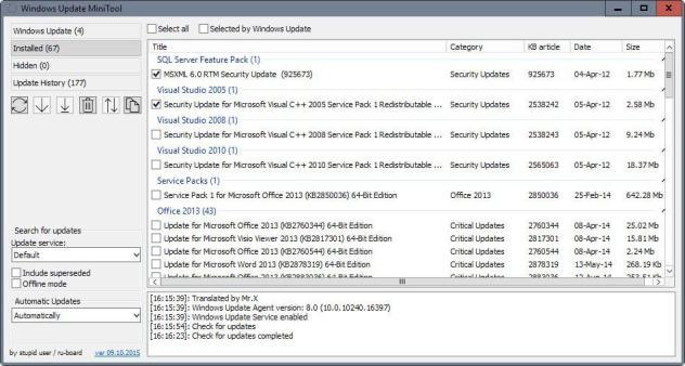 installed windows updates