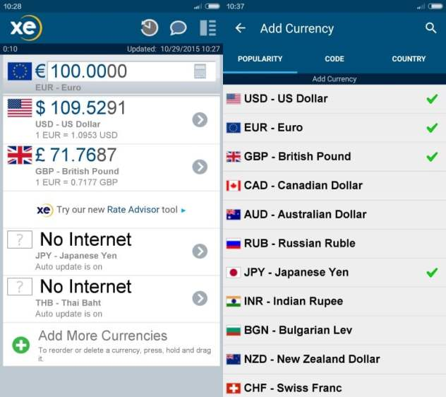 xe currency converter android