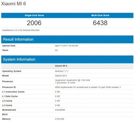Xiaomi Mi 6 details by Geekbench