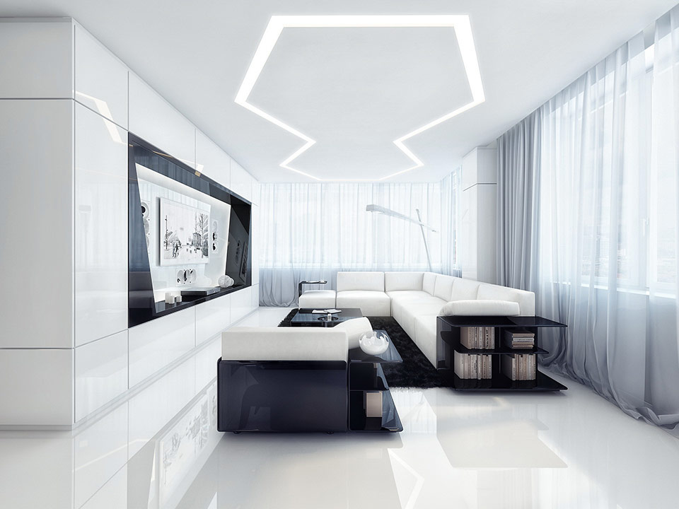 white and black entertainment room 20 Beautiful Entertainment Room Ideas