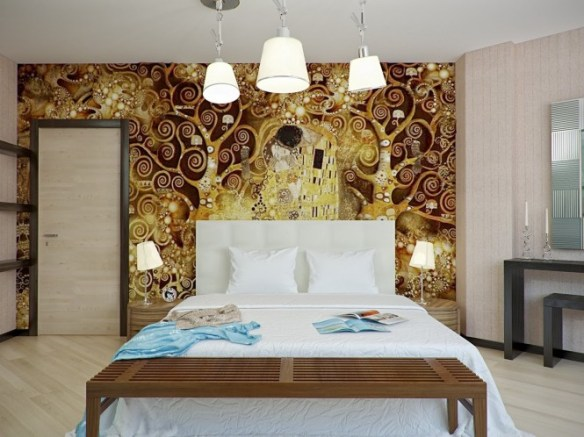 Via My Design Review Why not feature a famous artwork there? The above one features 'The Kiss' by Gustav Klimt.