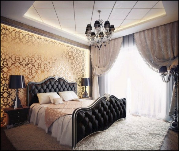 The luxurious metallic gold wallpaper in this setting screams opulence and glamor when placed behind daring black furniture and accent pieces.
