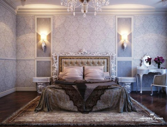 By IrenaA slightly gothic styled bedspread adds depth to this light, lace inspired room, filled with intricate home accessories.