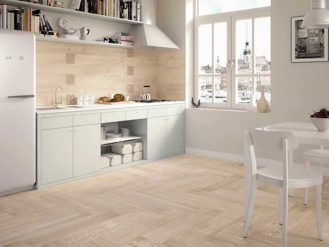 light wooden tiled kitchen splashback and floor wood floor tiles white