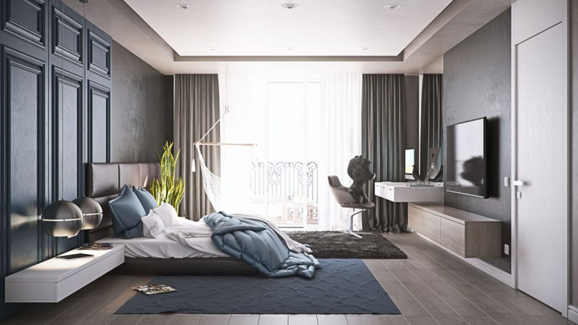charcoal-and-teal-bedroom-orb-bedside-table-lights-anime-bear