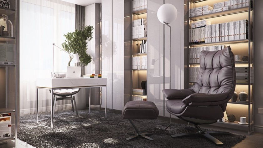 coffee-bean-leather-chair-teak-library-shelves-contemporary-library