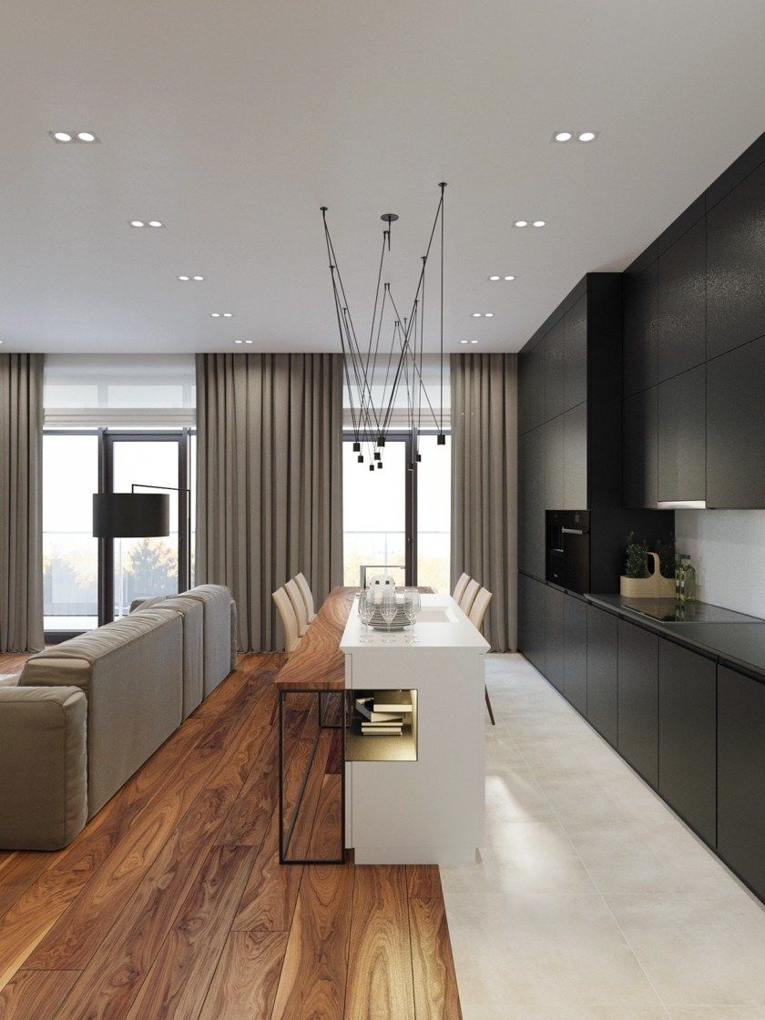 Throughout the apartment, design details reflect a meeting between the natural and the man-made. In the kitchen, a white ceramic bench kisses a wooden breakfast table, the tiled and wooden floors dividing beneath them. The home office joins a wooden and black table together, with a metallic table foregrounding the wooden feature wall. The corridor shows both the monochromatic tiling, slatted wooden partitions and bamboo feature wall, while a Stormtrooper watches.