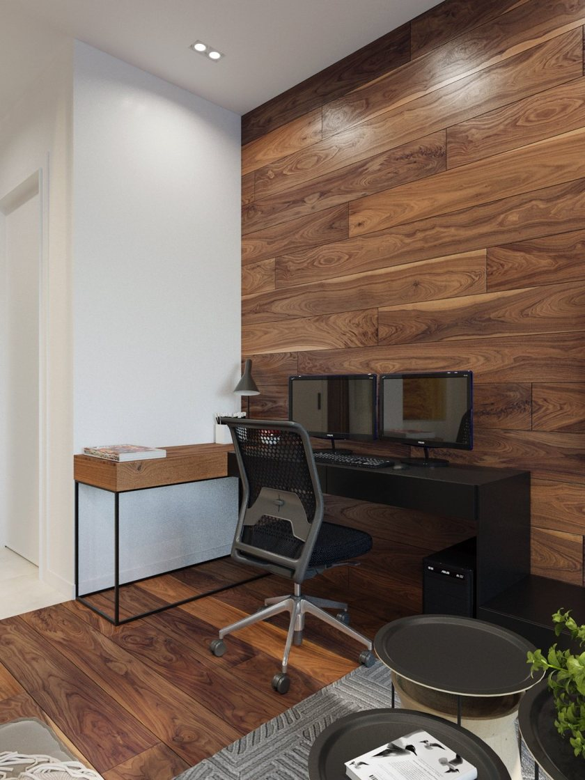 Half wood and black office table rustic yet modern