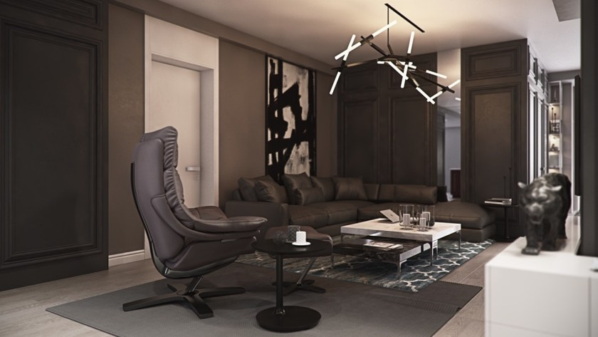 Transitioning through the living room, additional features add everyday elegance. Round tables offering lilies reflect LED lights; grey-and-white rug textures mirror wall art; alternating black and white gothic panels line the room.