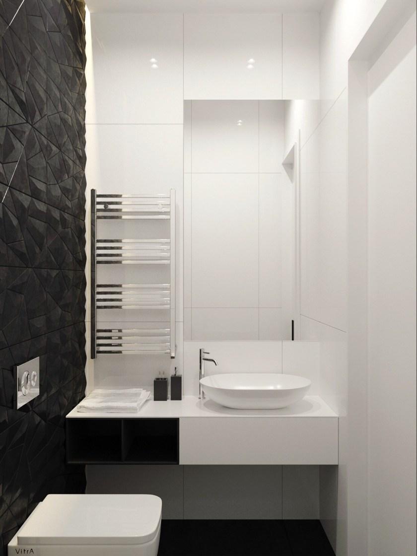Monochromatic bathroom design half and half two sided