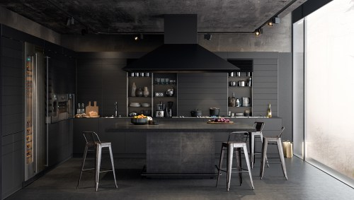 Medium Of Black Kitchen Walls