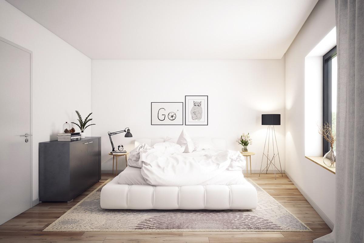 white bed black furniture e