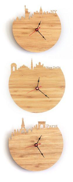 Splendid New York New Delhi Paris Wooden Wall Clocks Uk 600x1493 Star Shaped Wall Clocks