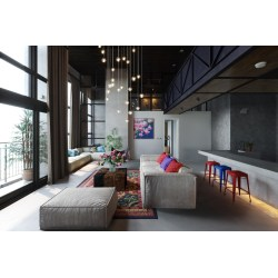 Endearing Flying Pendant Lights Colourful Stools Kitsch Living Room Interior Design Living Room