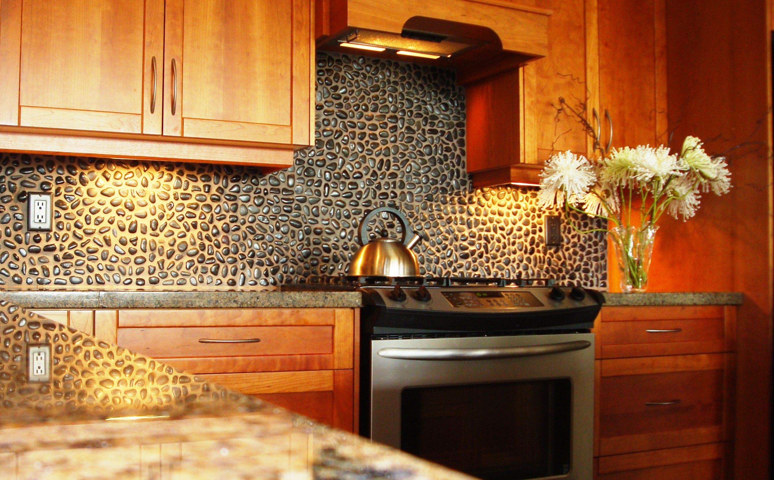 3 backsplashes for kitchen Small Stone Backsplash