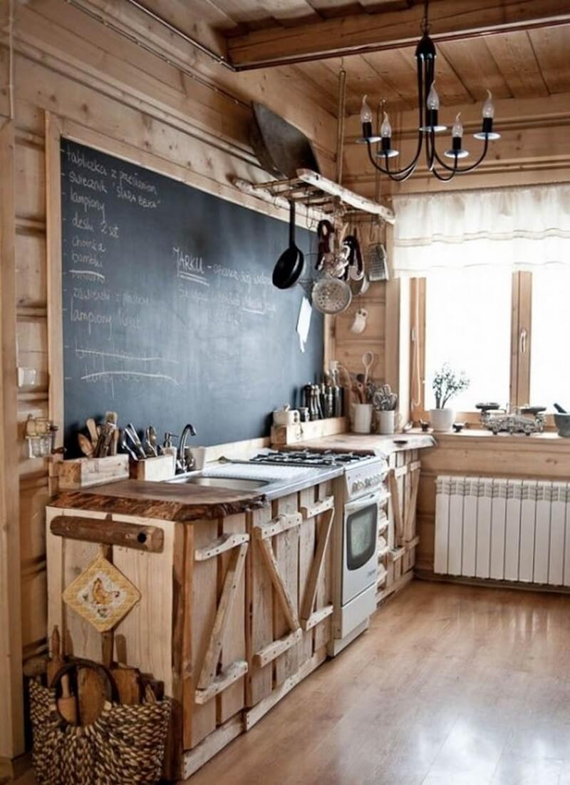 best rustic country kitchen design ideas country kitchen design ideas A Chalkboard Makes a Unique Addition to a Cabin Style Rustic Kitchen