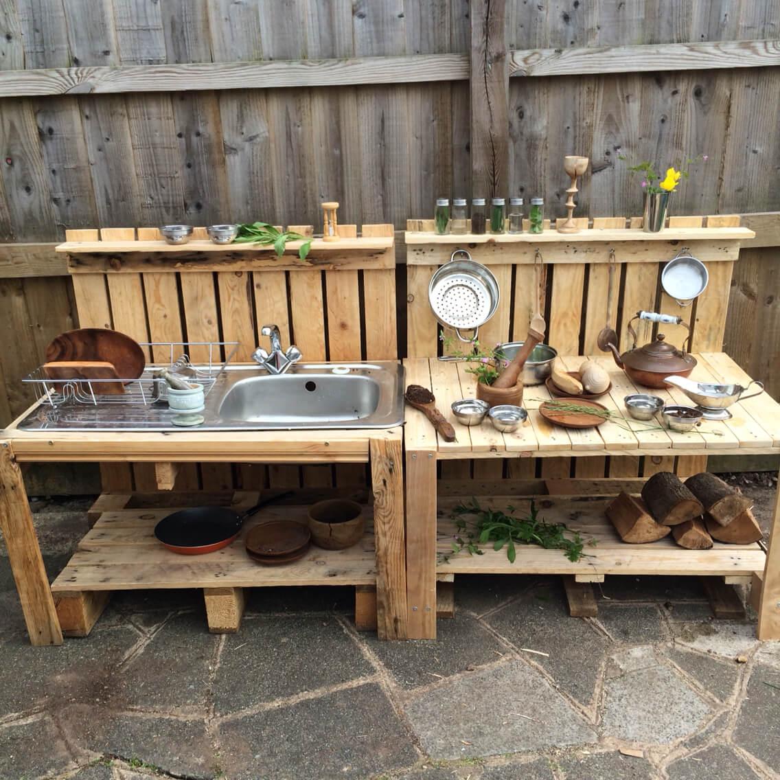 best outdoor kitchen ideas outdoor kitchen sink DIY Wood Pallet Sink and Prep Station