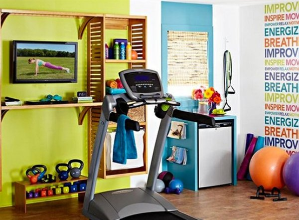 vibrant green and colorful walls in home gym
