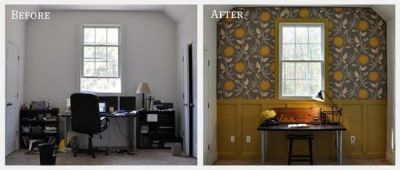 Before and After: Redecorating Using Fabric Wallpaper