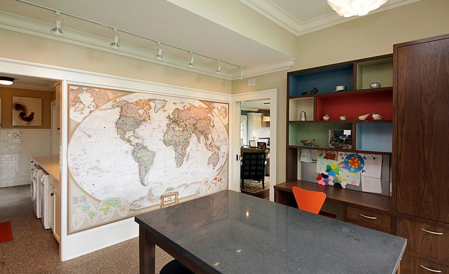 Dining Room Paint Ideas With Accent Wall World Map Inside Design
