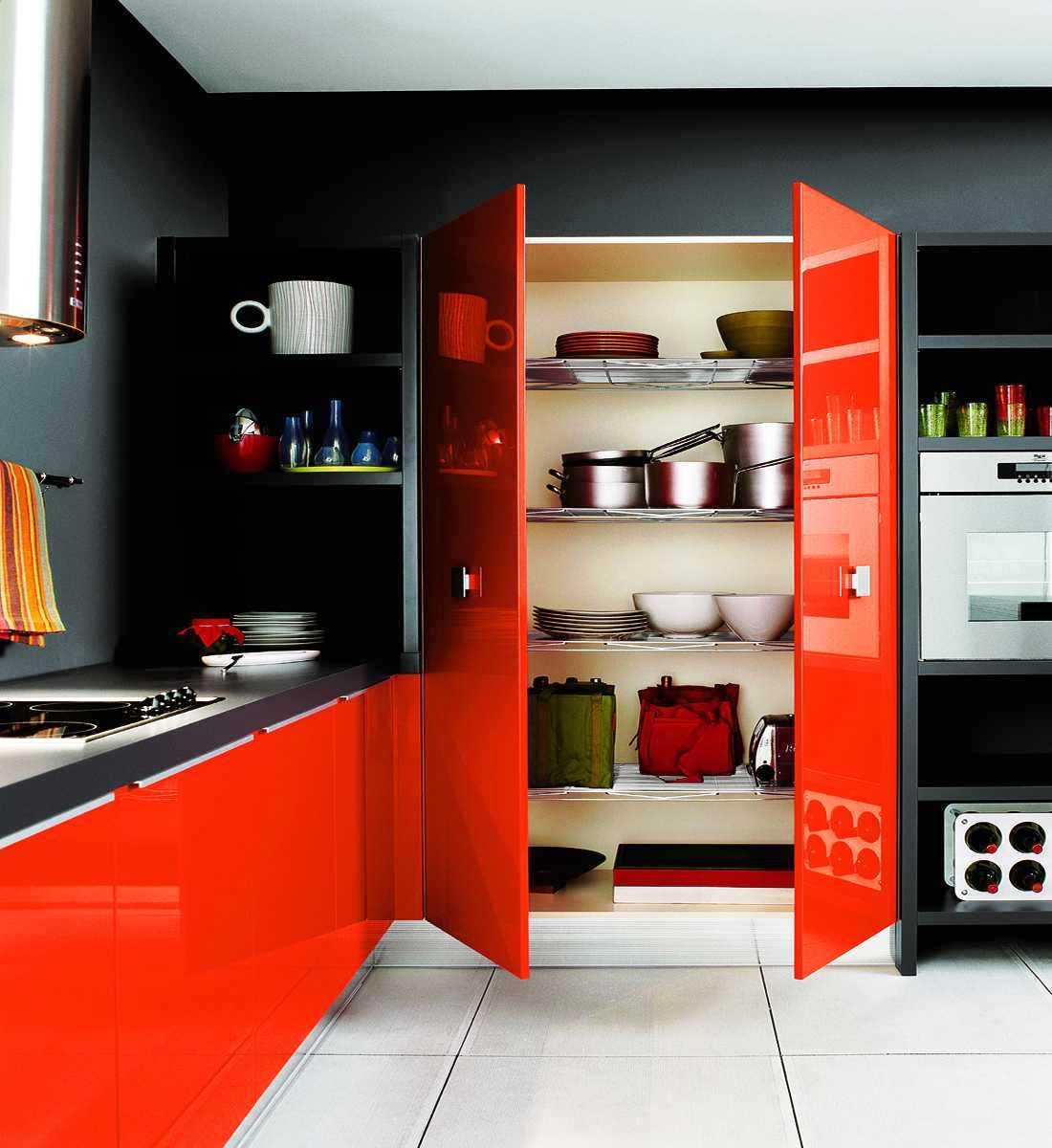 kitchen color schemes modern kitchen designs Poppy orange and ebony