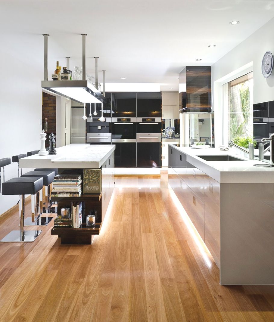 wood laminate flooring for your kitchen laminate flooring in kitchen Soft Hidden Light Laminate Flooring Contemporary Kitchen Design