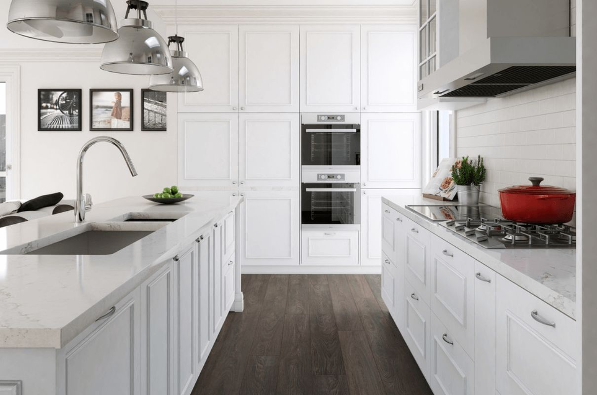 wood laminate flooring for your kitchen laminate flooring in kitchen White Timeless kitchen