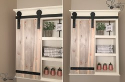 Small Of Wooden Shelf Bathroom