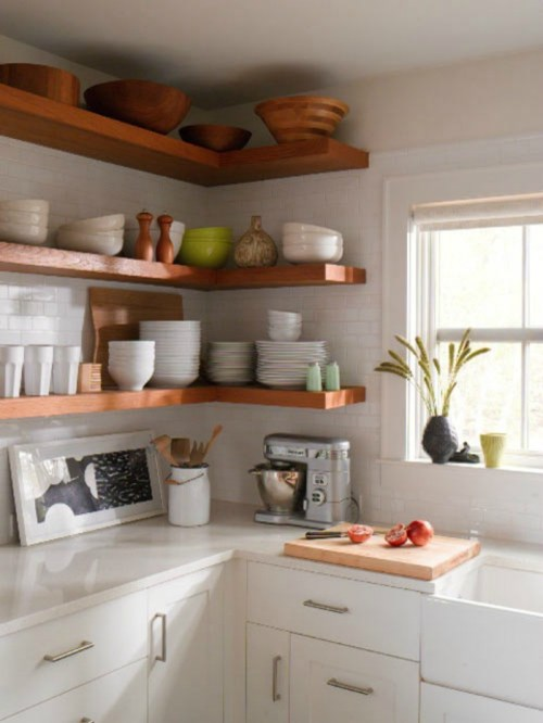 Medium Of Rustic Floating Corner Shelves