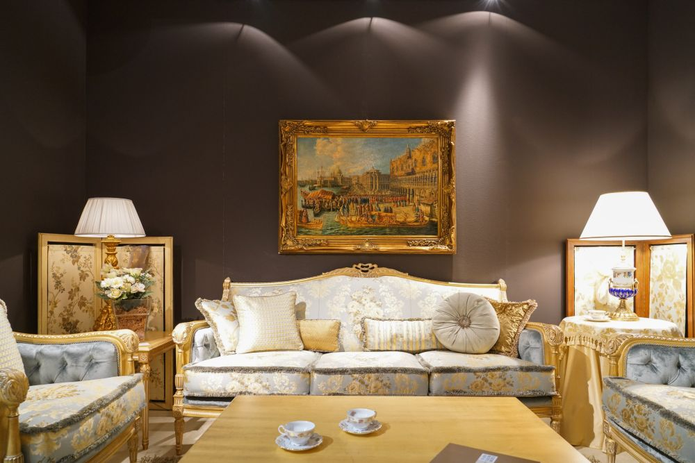 lighter colors and touches of chinoiserie are common in rococo style living furniture