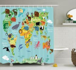Fanciful Pacific Ocean Kids Shower Curtain Ambesonne Decor Collection Polyester Fabric Bathroom Shower Curtain Kids Shower Curtains Boys Kids Shower Curtains