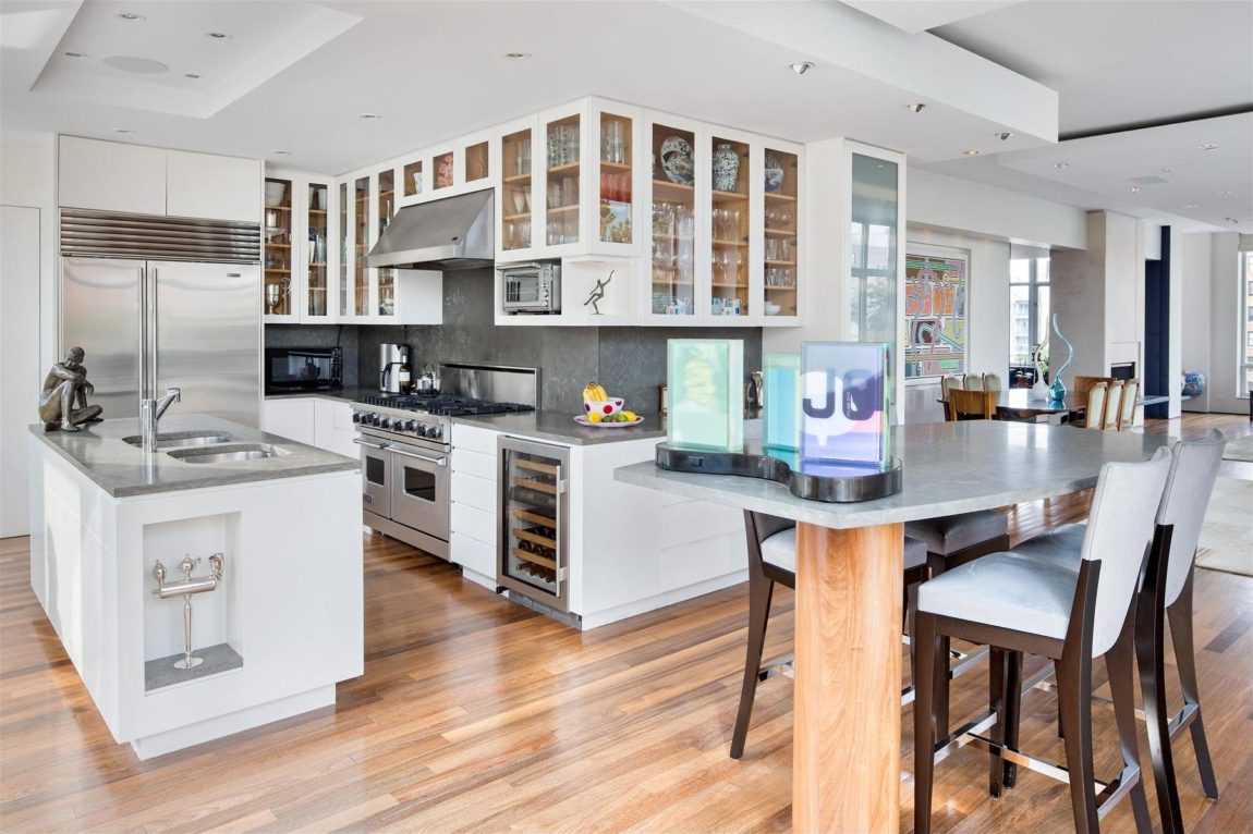 duplex penthouse in the heart of chelsea manhattan kitchen wood floors