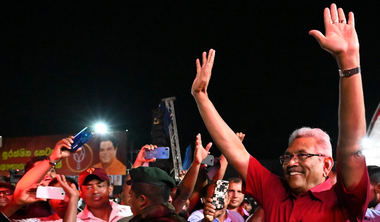 Sri Lanka Podujana Peramuna (SLPP) party presidential candidate Gotabhaya Rajapaksa at a campaign rally. Photo: AFP