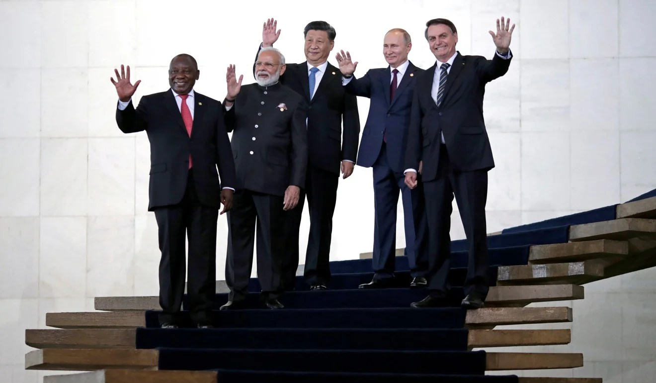 Narendra Modi with other leaders of the BRICS countries at a summit in Brasilia. Photo: Reuters