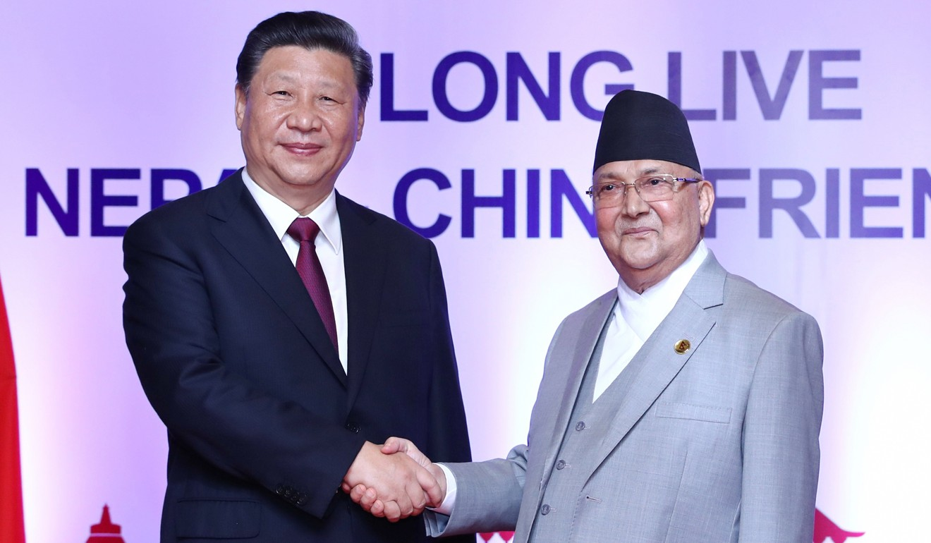 Chinese President Xi Jinping with Nepal's Prime Minister K.P. Sharma Oli in Kathmandu. Photo: Xinhua