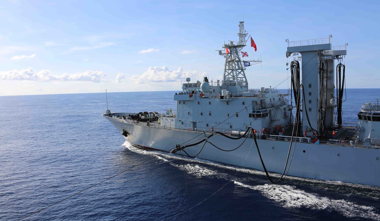 A Chinese navy supply vessel in western Indian Ocean waters in 2017. Photo: Xinhua