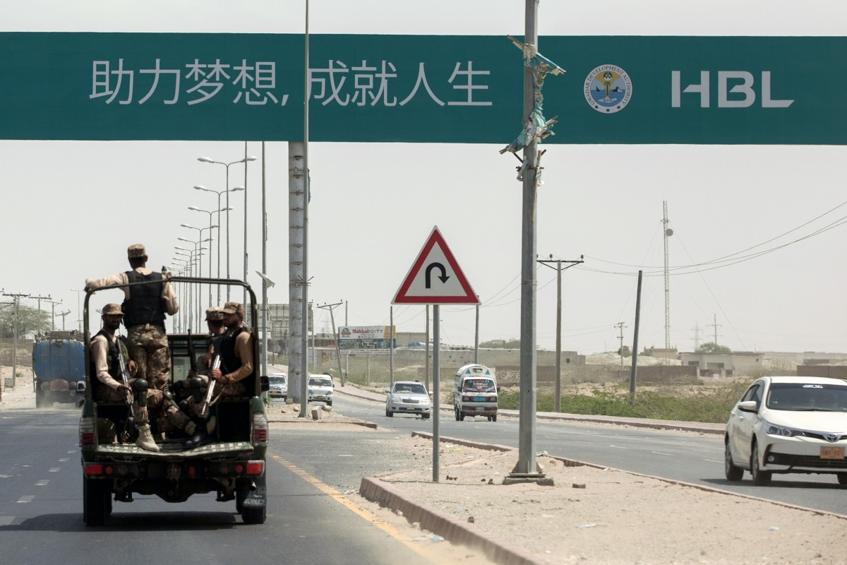 "A road sign reading ""First Pakistani Branch in China"" in Gwadar, Balochistan. Photo: Bloomberg"