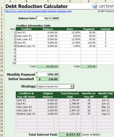 Free Excel based Debt Reduction Calculator to Payoff Credit Card Debt