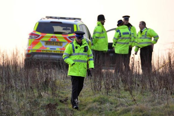 Police at the site of where human remains was discovered in Bristol