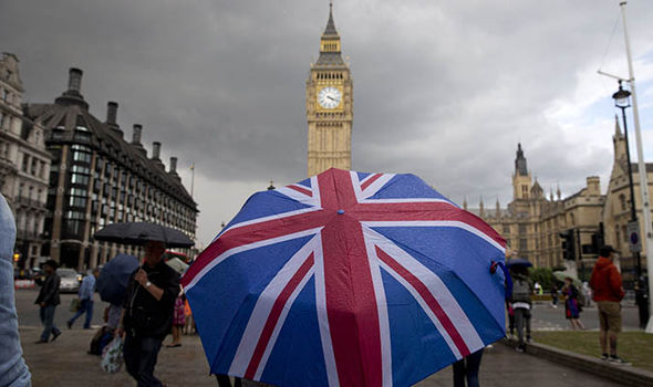 A British umbrella in front of Big Ben